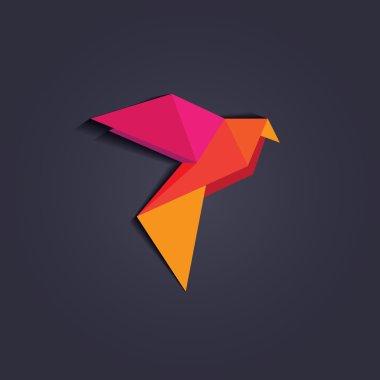 Multicolored geometric triangular bird