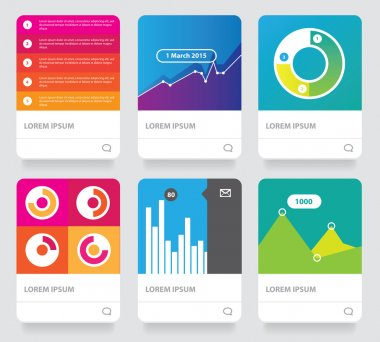 Diagram infographics set cards collection