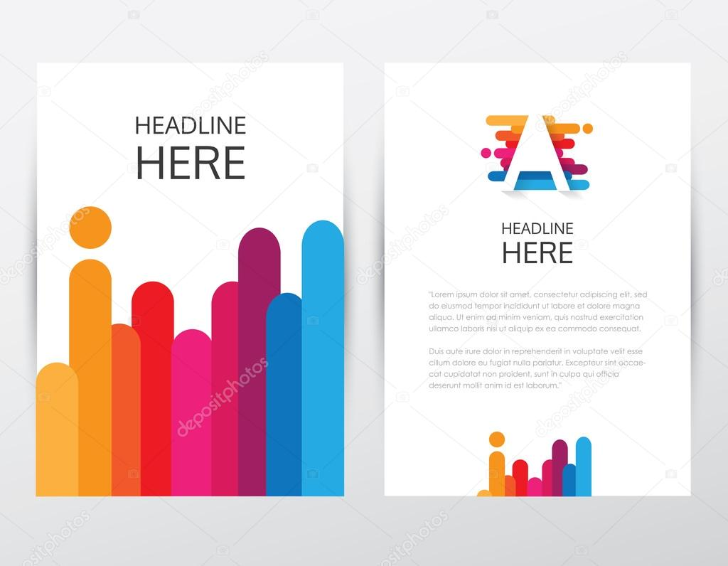 colorful brochure and letterhead template stock vector