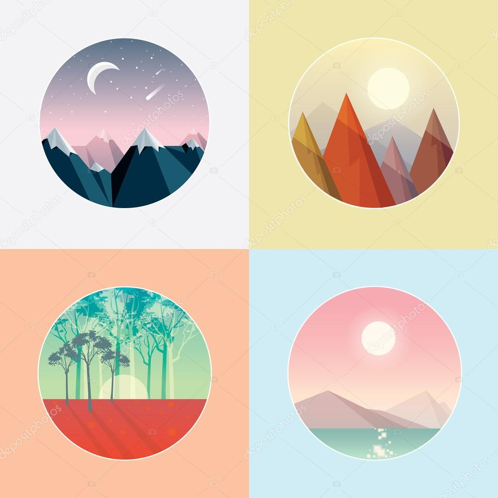 Four seasons round landscape icons