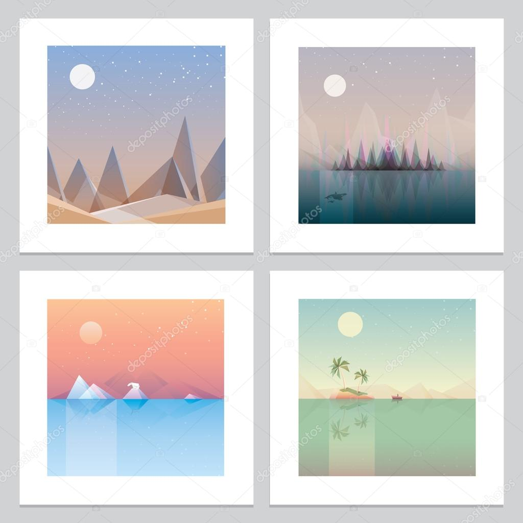 Minimalistic landscape print wallpapers