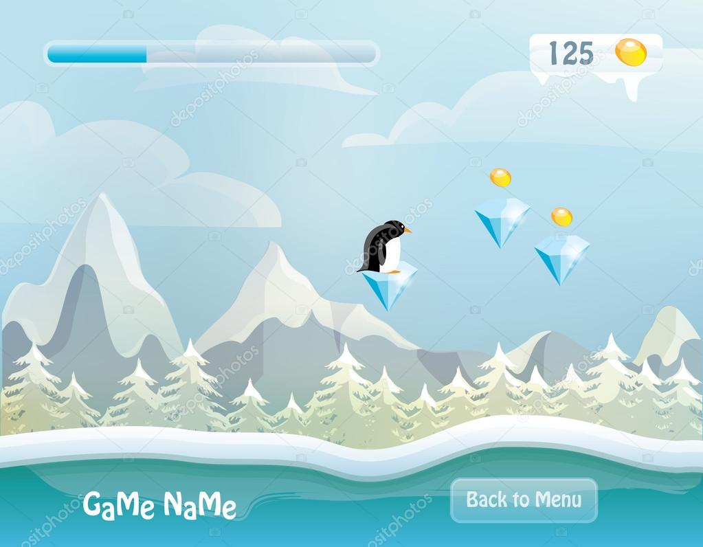 Game level with flying penguin caracter