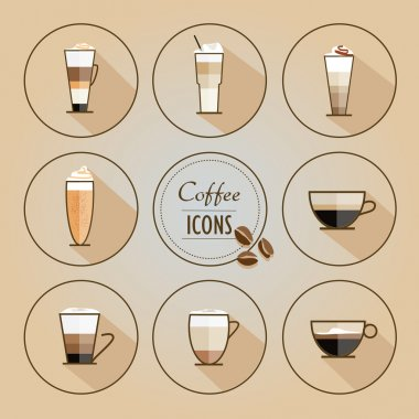Set of coffee types icons