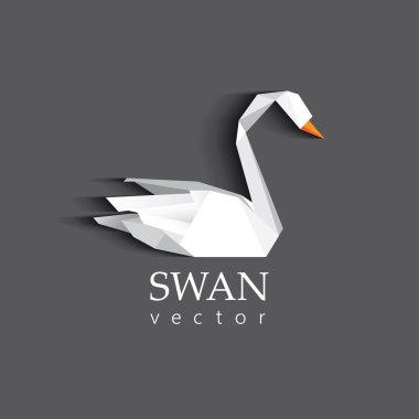 Swan origami low polygon logotype