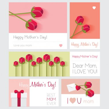 Set of abstract backgrounds on Mothers day