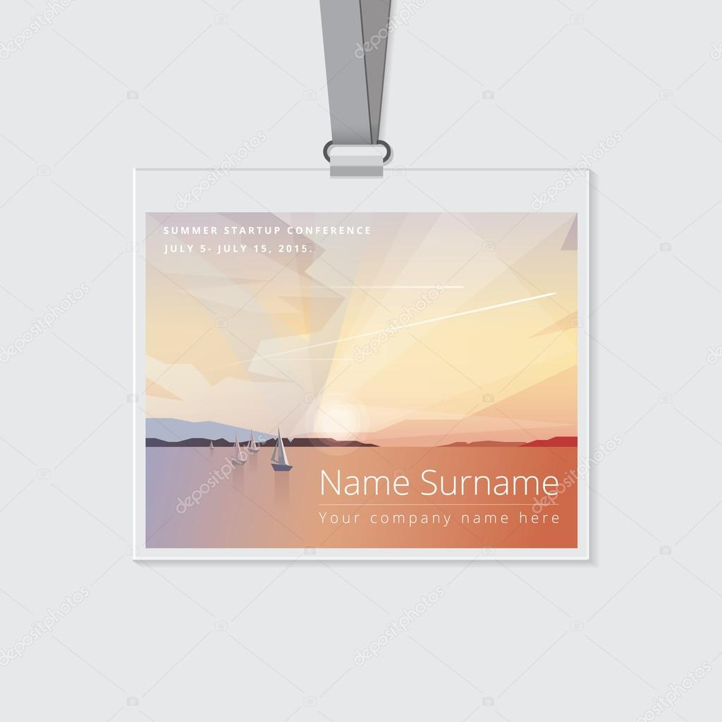 conference name tag mockup template stock vector dianahlevnjak