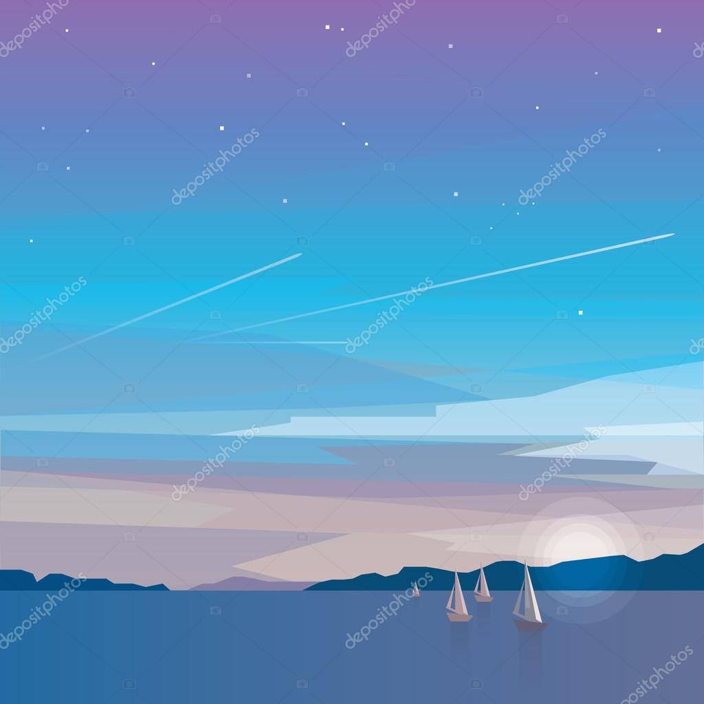 minimalistic ocean view with sailing boats