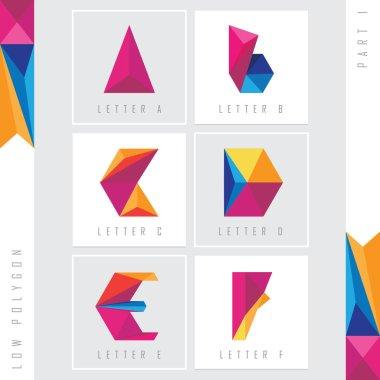 low polygon alphabet letters