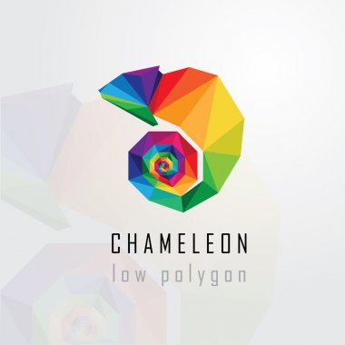 Low polygon style chameleon