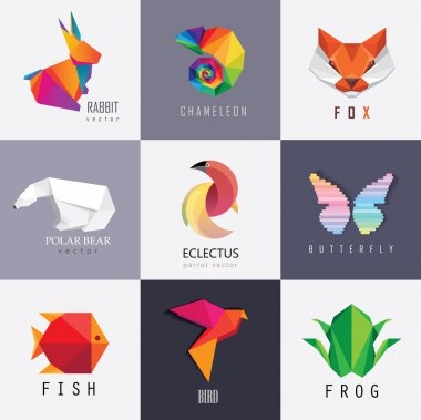 Abstract colorful animal logos design