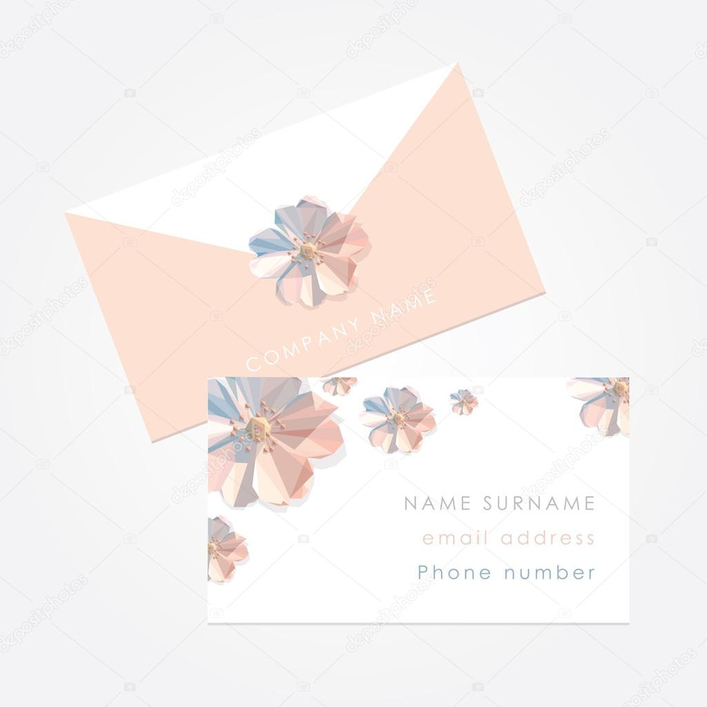Feminine business card template mockup stock vector beautiful creative feminine business card template mockup with low polygon spring flower decorations suitable for wedding planners or florist owners junglespirit Gallery