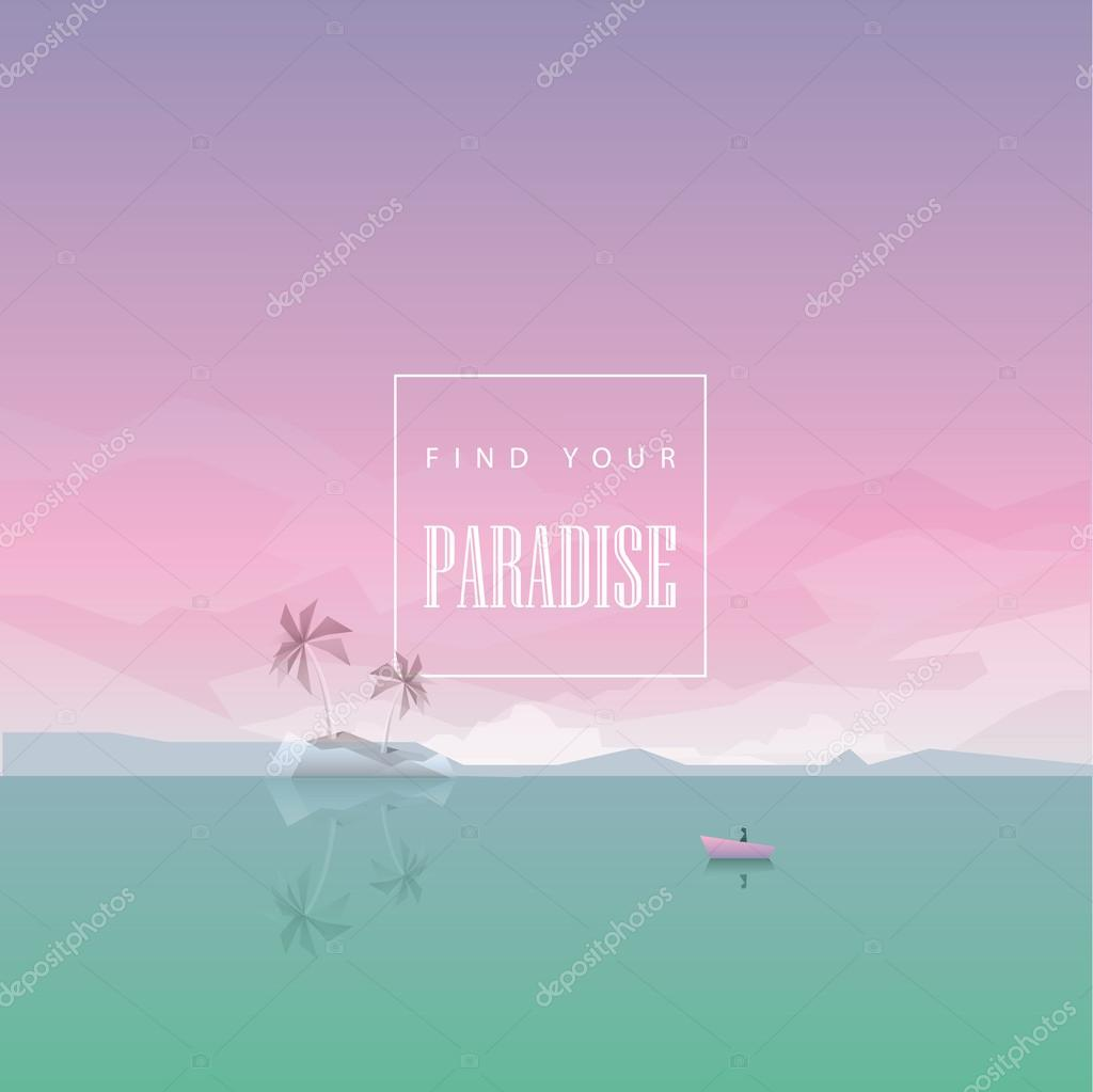 low poly style summer wallpaper