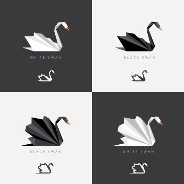 Black and white swan logos