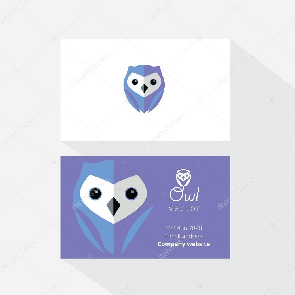 Business card with owl logo — Stock Vector © DianaHlevnjak #79017172