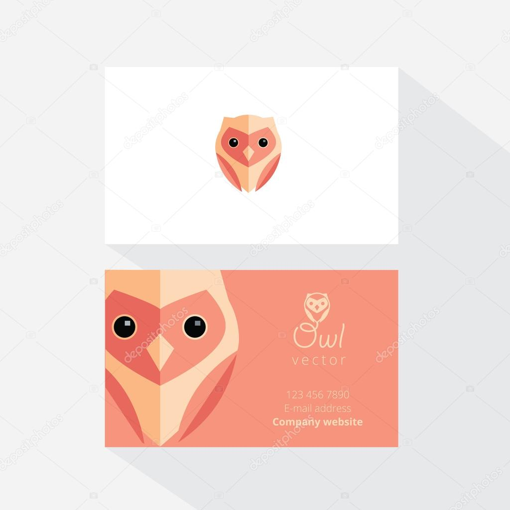 Business card with owl logo — Stock Vector © DianaHlevnjak #79017186