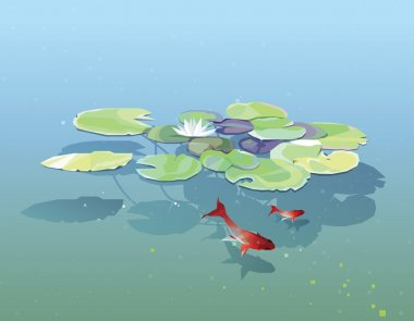 Water Lily pads  in lake with fishes