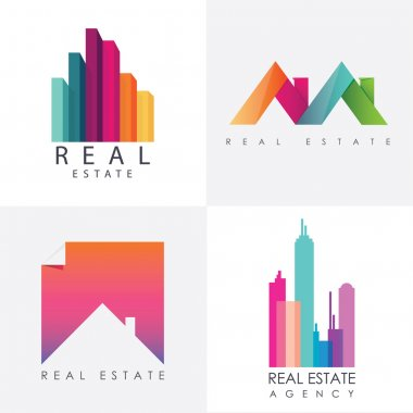 Set of real estate logo designs