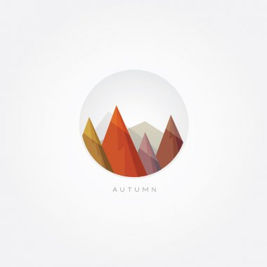 Autumn forest and mountain peaks design