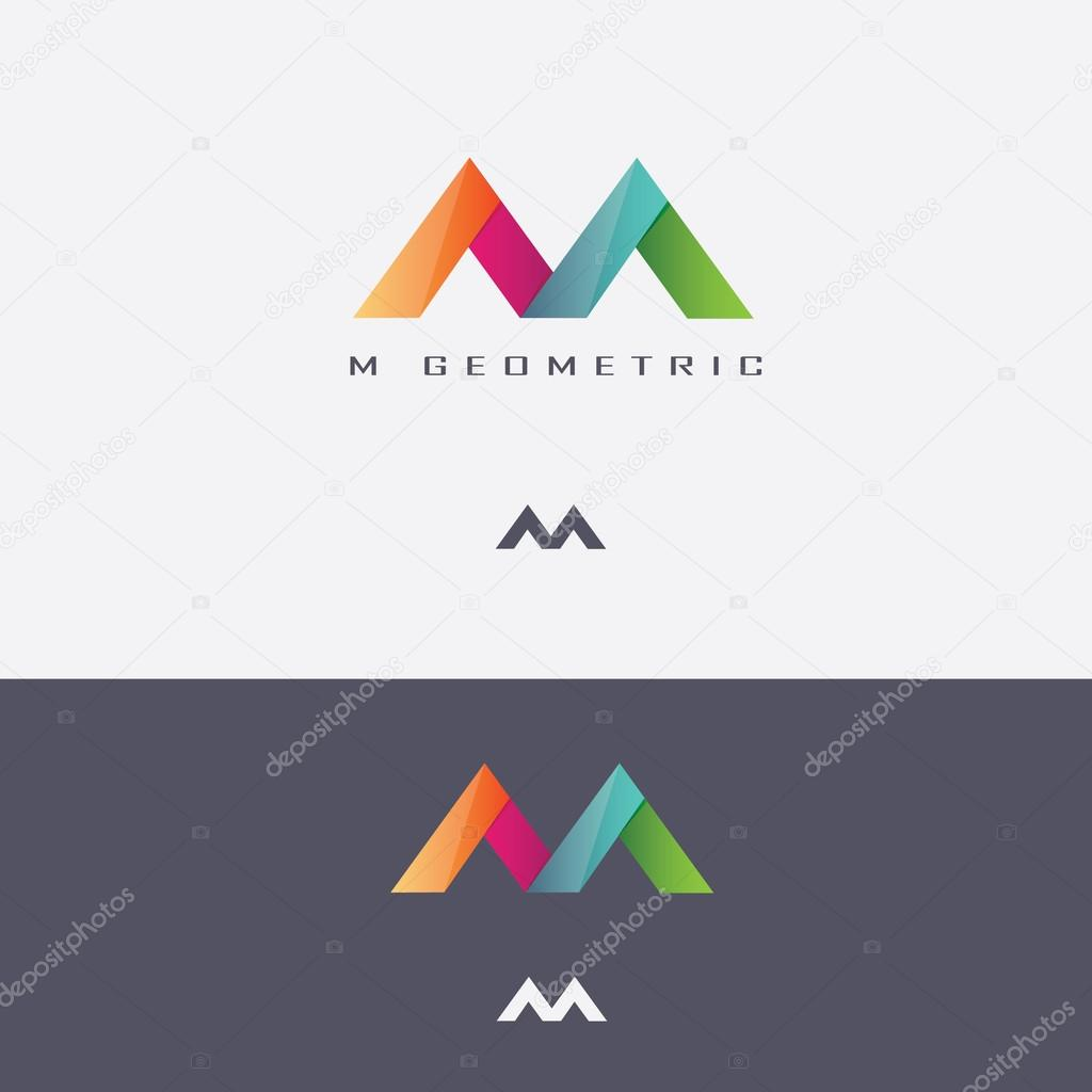logotipo de la m letra geom233tricos multicolores � archivo