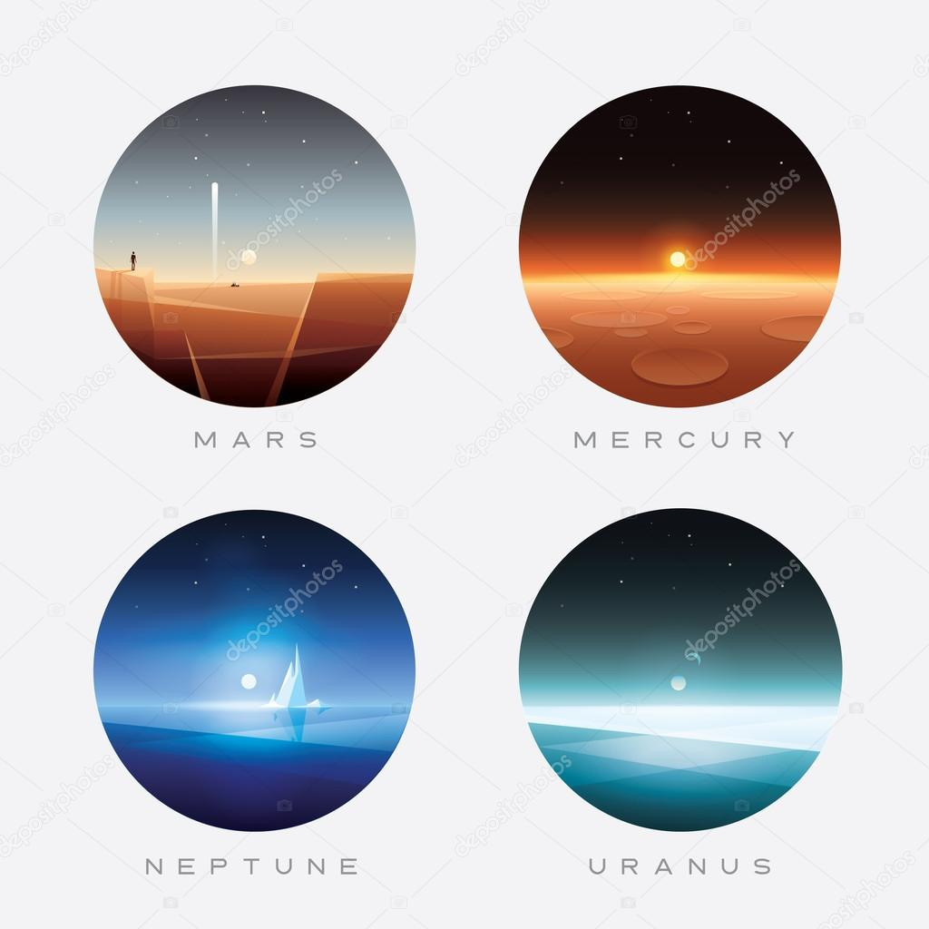 Mars, Mercury, Neptune and Uranus planets
