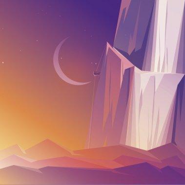 Mountain climber at sunrise.