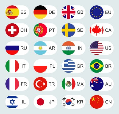 Vector icons of flags in circles.