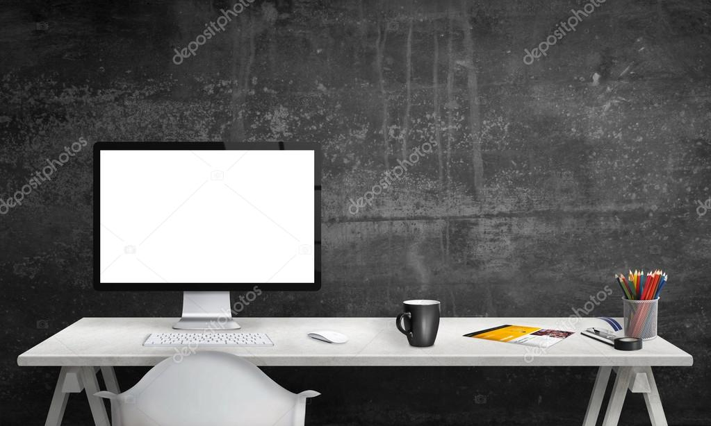 isolated computer display for mockup in office interior work desk