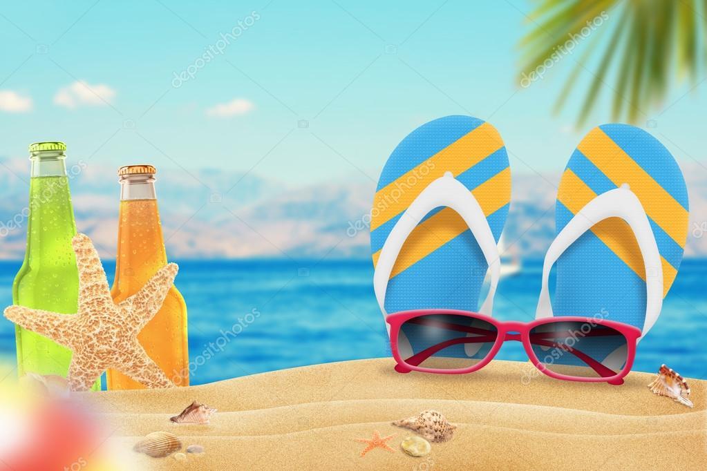 Gafas de sol el jugo y zapatillas en la playa estrellas for Arena de playa precio