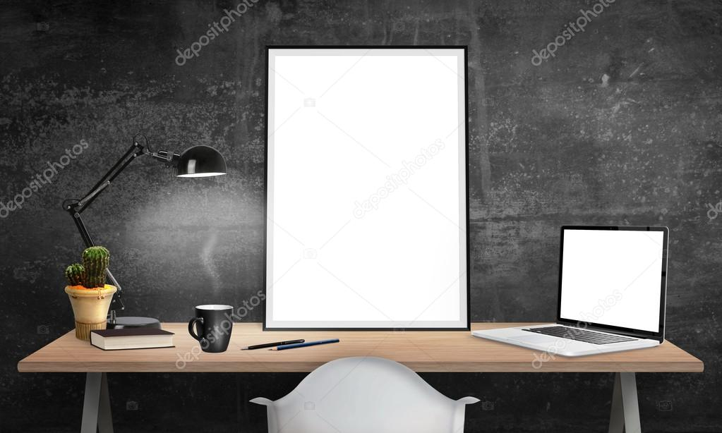 Isolated Poster Frame And Laptop On Office Desk For Mockup Lamp Cactus Pencils