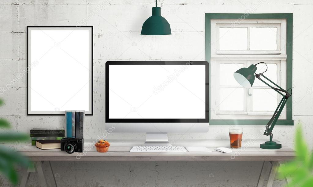 Computer Display On Office Desk Isolated White Screen For Mockup Stock Photo