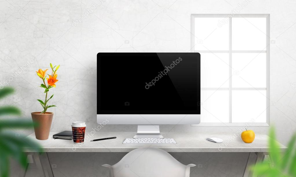 Computer With Isolated Screen For Mockup On Office Desk Photo By Vlado85