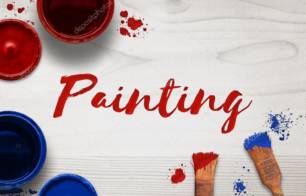 Wort Malerei auf einem hölzernen Hintergrund mit Pinsel gemalt. Box ...