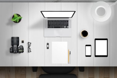 desk mockup scene with devices from top