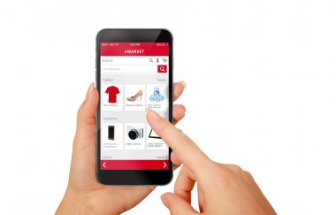 Smart phone online shopping in woman hand isolated