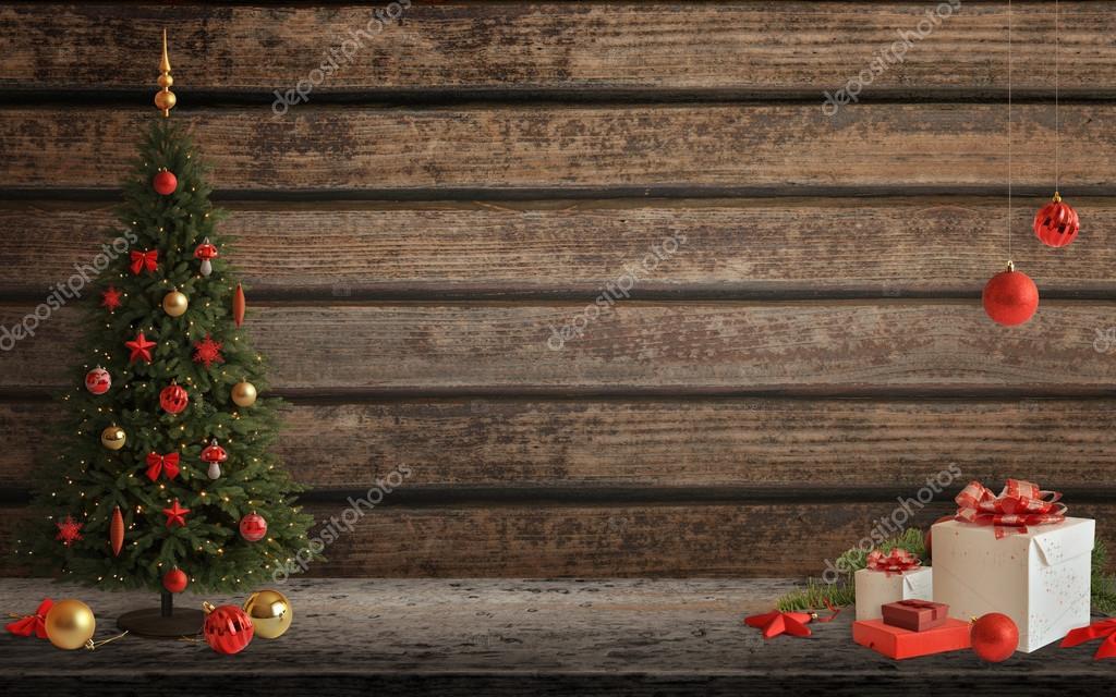 Weihnachten-Szene mit Baum und Dekorationen, Lichter, Ornamenten ...