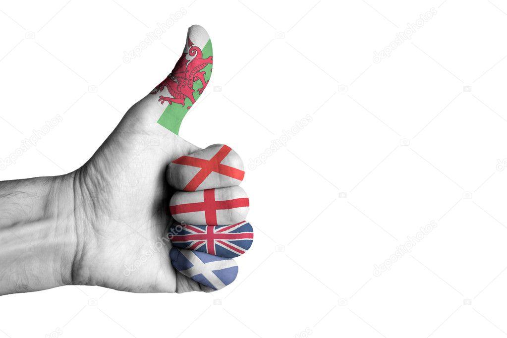 Bandera de Union Jack en el pulgar humano manos masculinas — Fotos ...