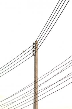 Electricity post in white background. isolated