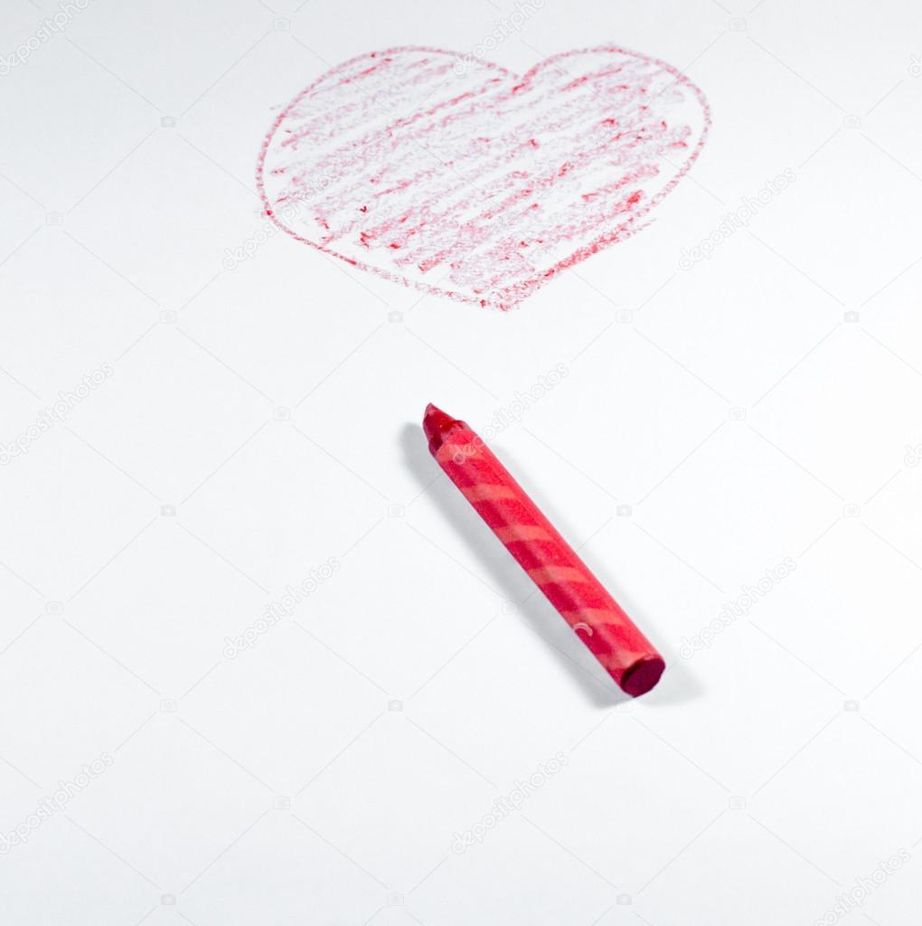 Hand Zeichnen Indem Roten Wachsmalstift Herzform Isoliert Auf