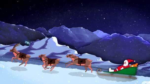 Weihnachten und Neujahr 2d Cartoon Animation Santa