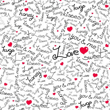 Vector seamless pattern  with many handmade black words of love and cute red hearts  on white background. clip art vector