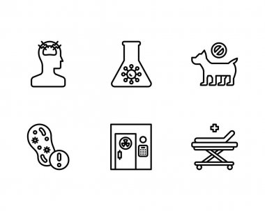 Vector illustration of test tube icon set. outline pack of laboratory equipment and flask stock symbol for web. icon