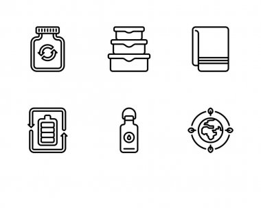Set of vector icons of food and drink, bottle, and other elements. isolated illustration on white background icon