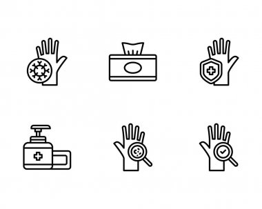 Hand drawn line icons set. outline pack of cleaning equipment vector icon for web design isolated on white background icon