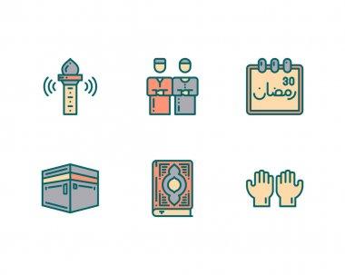 Set ramadan kareem, islamic icons and symbols, isolated on white, vector illustration icon