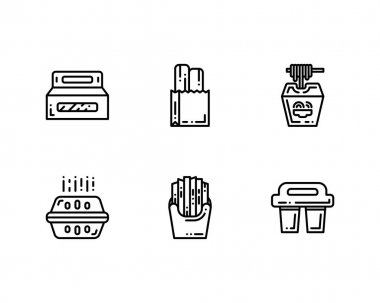 Vector set of Take Away icons, modern flat design isolated icon