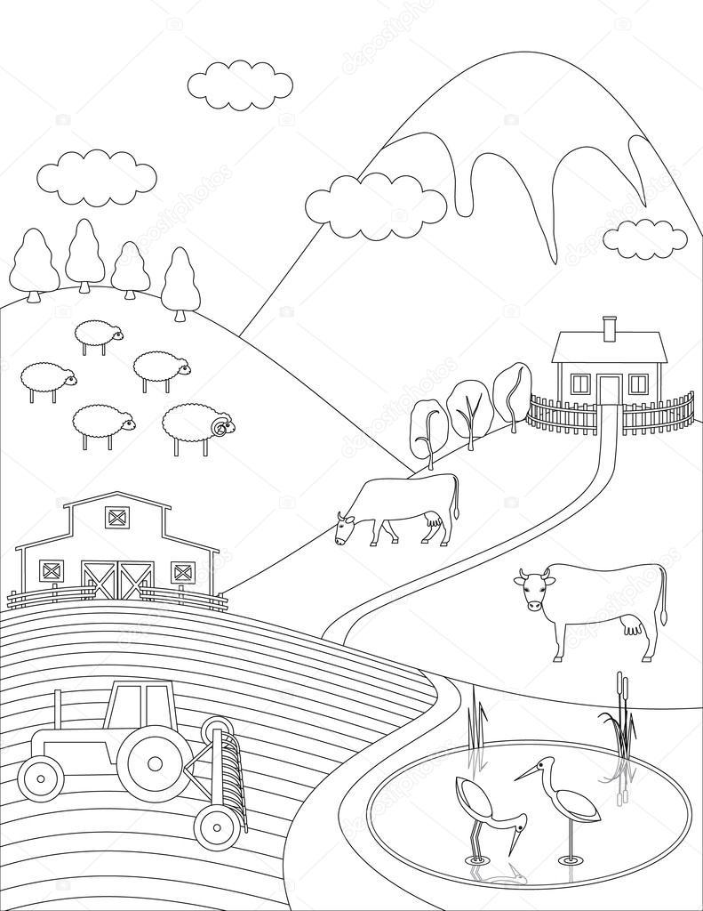 Imágenes Una Zona Rural Para Dibujar Página Para Colorear