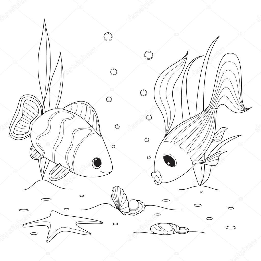 shell with a pearl fish swimming around starfish and seaweed grow coloring page