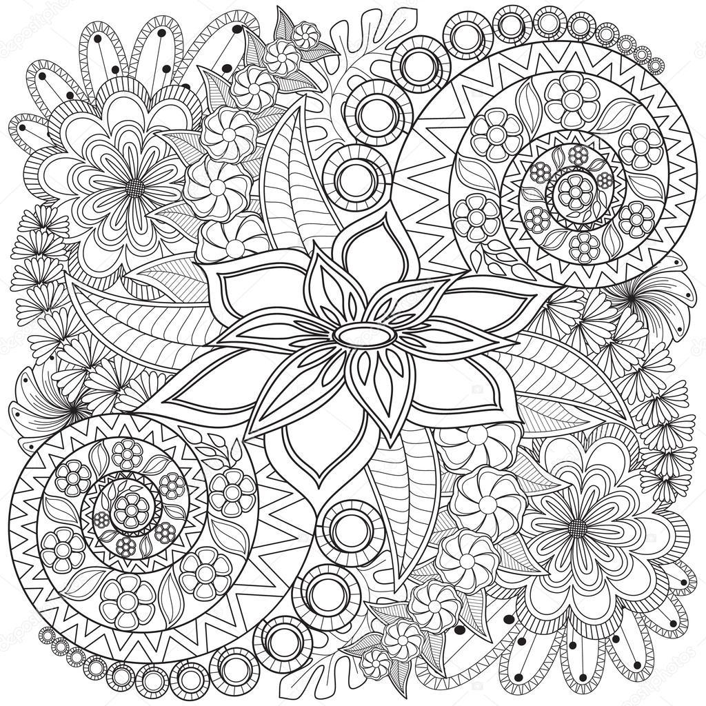 Remolino de flores patrón página del colorante — Archivo Imágenes ...