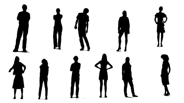 Silhouettes of young people who stand and waiting