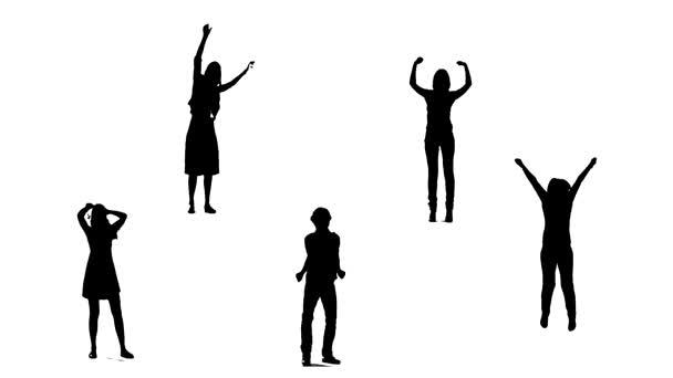 Siluety mladých lidí, kteří skákají. Zpomalený pohyb.